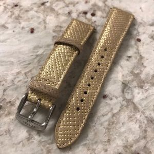 Fossil 18mm watch band in beige/gold